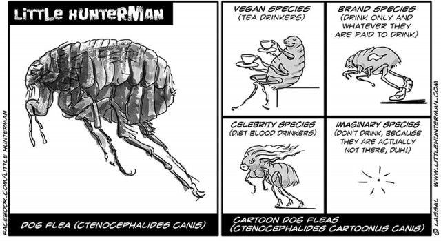 Little Hunterman Daily Cartoons 2014-03-22, Cartoon Dog Fleas