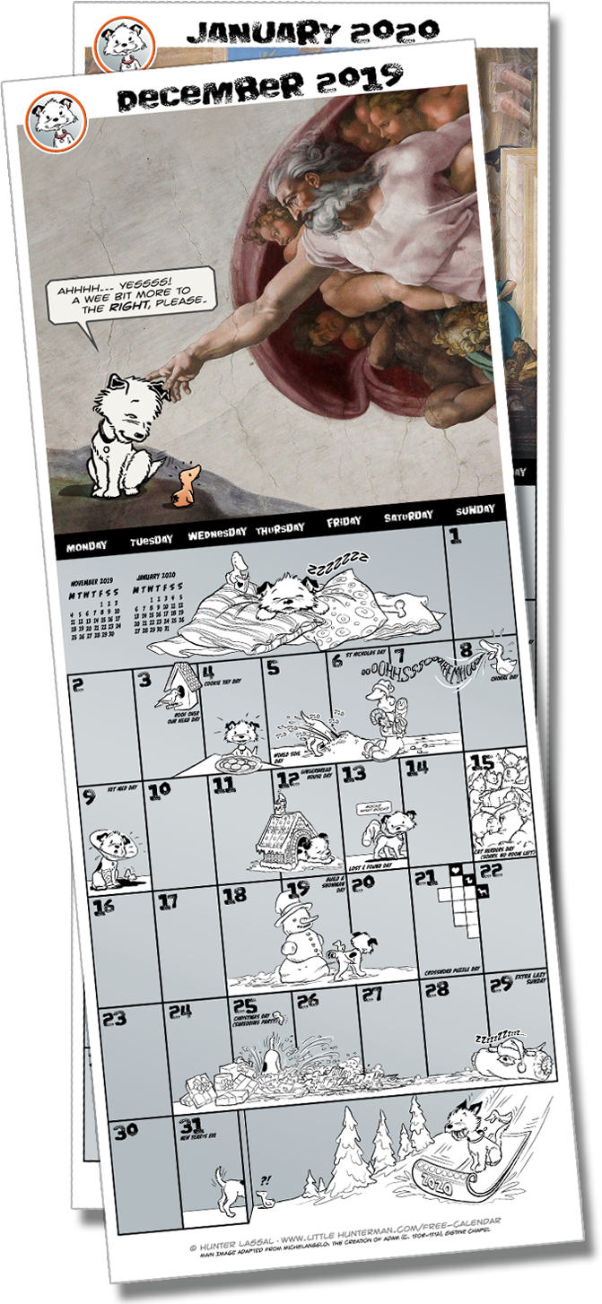 The Totally Secret Little Hunterman December 2019 Calendar Page Download Place